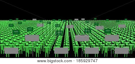 Crowd of people with signs and Saudi Arabia flags 3d illustration