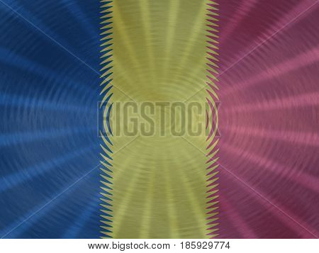 Chad flag background with ripples and rays illustration