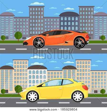 Sport car and universal car in urban landscape. City street road traffic vector illustration, cityscape background with skyscrapers. Modern family automobile, people transportation, auto vehicle