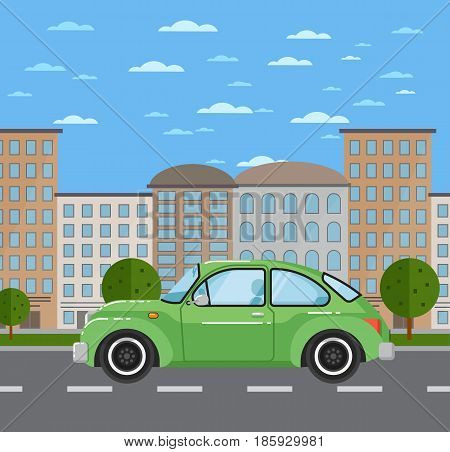 Classic retro car in urban landscape. Vintage old school family auto vehicle, people transportation concept. City street road traffic vector illustration, cityscape background with skyscrapers.
