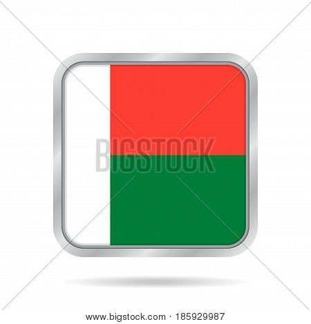 National flag of Madagascar. Shiny metallic gray square button with shadow.