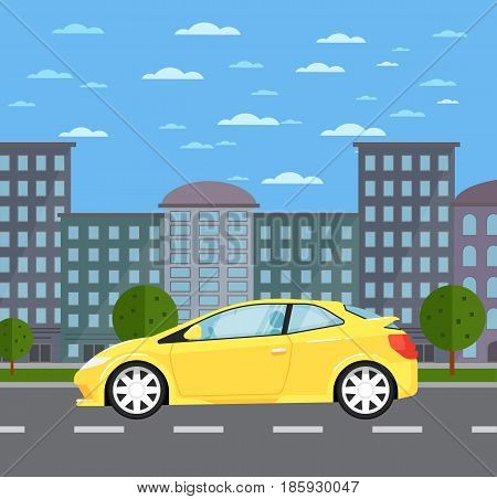 Modern universal car in urban landscape. Comfortable family auto vehicle, people transportation concept. City street road traffic vector illustration, cityscape background with skyscrapers.