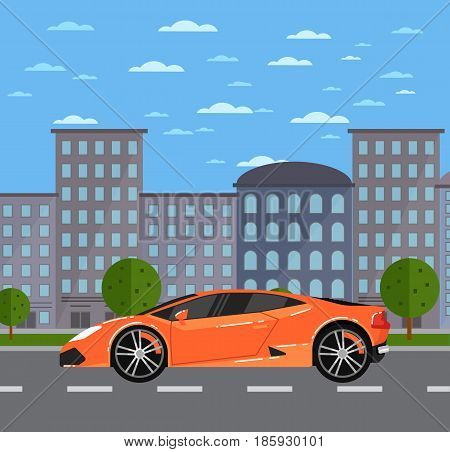 Luxury sports car in urban landscape. Exotic supercar, modern auto vehicle, people transportation concept. City street road traffic vector illustration, cityscape background with skyscrapers.