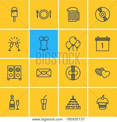 Vector Illustration Of 16 Banquet Icons. Editable Pack Of Fizz, Jingle, Speaker And Other Elements.