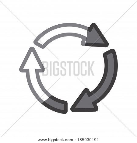 grayscale silhouette of arrows circle reload vector illustration