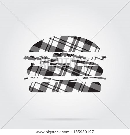 grayscale gray black isolated tartan icon with white stripes - hamburger and shadow in front of a gray background
