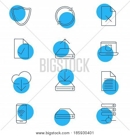 Vector Illustration Of 12 Internet Icons. Editable Pack Of Server, Hard Drive Disk, Telephone And Other Elements.