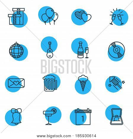 Vector Illustration Of 16 Banquet Icons. Editable Pack Of Nightclub Ball, Fizz, Decoration And Other Elements.
