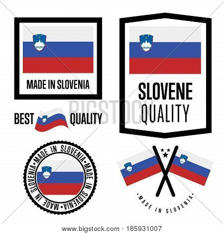 Slovenia quality isolated label set for goods. Exporting stamp with slovene flag, nation manufacturer certificate element, country product vector emblem. Made in Slovenia badge collection.