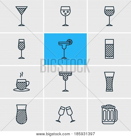 Vector Illustration Of 12 Beverage Icons. Editable Pack Of Beverage, Lemonade, Tea Cup And Other Elements.