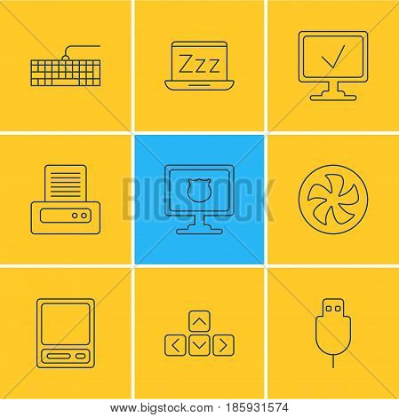 Vector Illustration Of 9 Notebook Icons. Editable Pack Of Pda, Online Computer, Serial Bus And Other Elements.