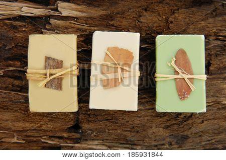 Three Soap on driftwood wood