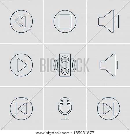 Vector Illustration Of 9 Music Icons. Editable Pack Of Subsequent, Amplifier, Preceding And Other Elements.