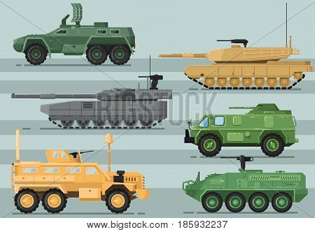 Modern military technics isolated set. Combat tank, armored vehicle, army truck, artillery and missile system vector illustration in flat design. Army force heavy equipment, armored corps machinery.