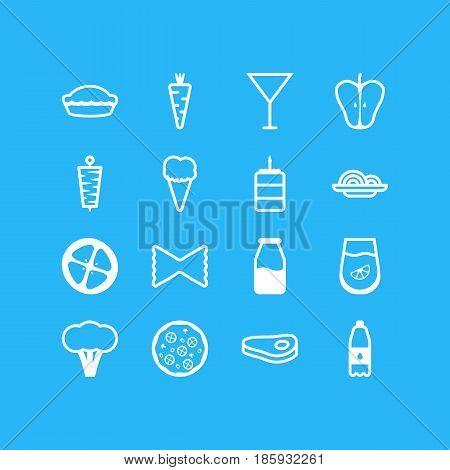 Vector Illustration Of 16 Cooking Icons. Editable Pack Of Veggie, Sirloin, Drink Bottle And Other Elements.