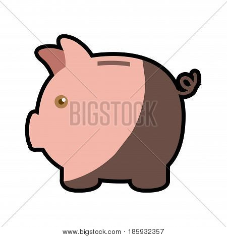 colorful silhouette of moneybox in shape of pig with half shadow vector illustration