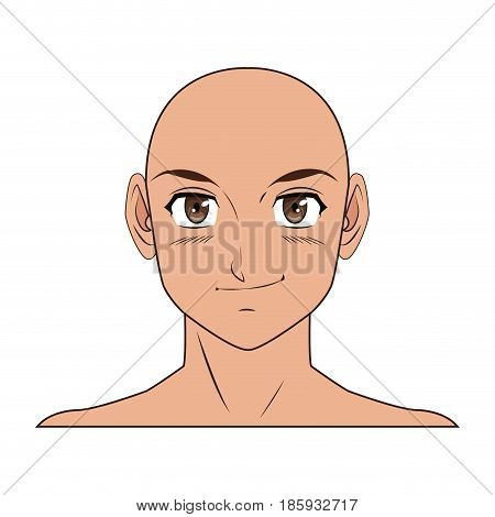 young guy. anime boy character japanese vector illustration