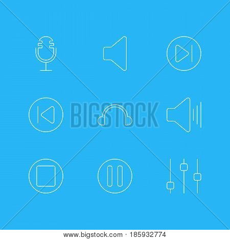 Vector Illustration Of 9 Music Icons. Editable Pack Of Lag, Stabilizer, Volume Up And Other Elements.