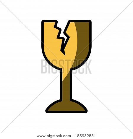 white background with fragile packaging symbol broken wine glass with half shadow vector illustration