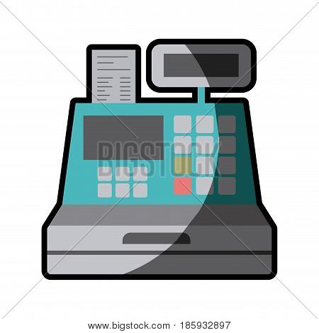 color silhouette with cash register with half shadow vector illustration