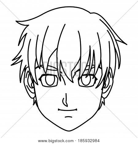 young guy. anime boy character japanese line vector illustration