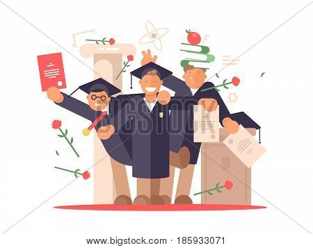 Group of students happy at graduation ceremony. Vector flat illustration