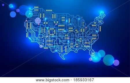 Map of the USA as a printed circuit Board. vector illustration. Electronic industry of America. luminous signals are transmitted via conductors and pads with bokeh effect