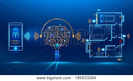 artificial intelligence controls smart home in the distance through app on your smart phone. Shows protection level of the house. Vector illustration electronic print circuit board pcb style