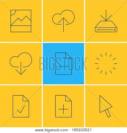 Vector Illustration Of 9 Web Icons. Editable Pack Of Document Adding, Pointer, Data Upload And Other Elements.