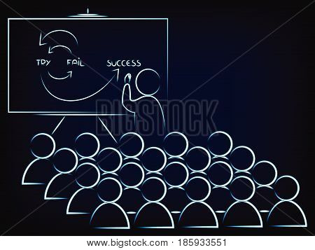 teacher or ceo explaining how to reach success to a classroom or audience (vector illustration on mesh background)