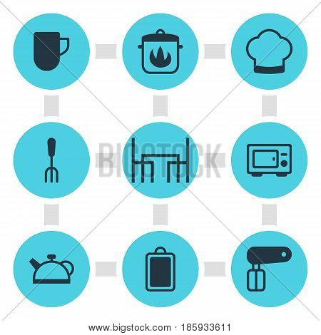 Vector Illustration Of 9 Kitchenware Icons. Editable Pack Of Teakettle, Chef Hat, Dinner Table And Other Elements.
