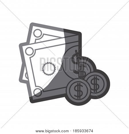 grayscale silhouette of coins and folded money vector illustration