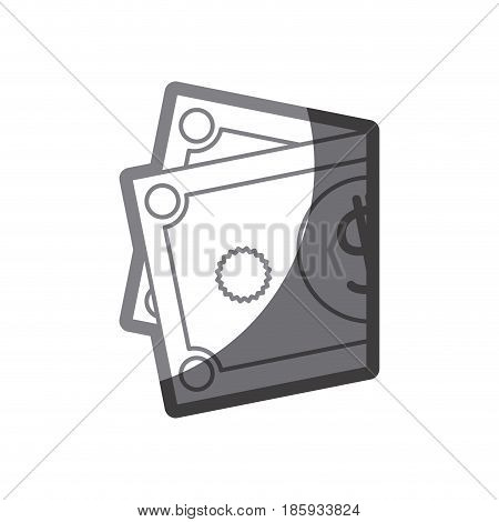grayscale silhouette of folded bill in two parts vector illustration