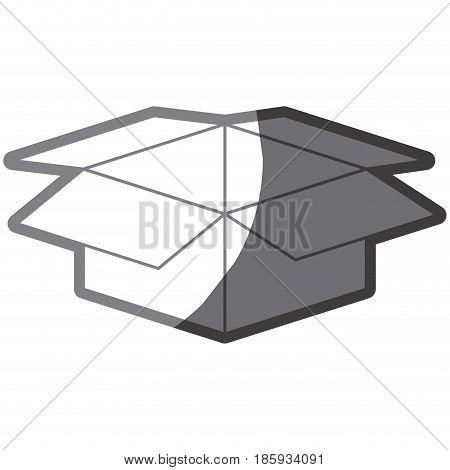 grayscale silhouette with box of cardboard opened vector illustration