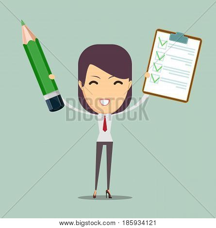 Happy physician student just passed difficult examination. Stock vector illustration for poster, greeting card, website, ad, business presentation, advertisement design.