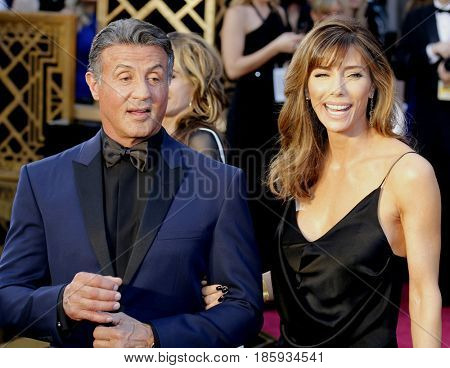 Jennifer Flavin and Sylvester Stallone at the 88th Annual Academy Awards held at the Hollywood & Highland Center in Hollywood, USA on February 28, 2016.