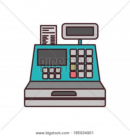 color silhouette with cash register with thin contour vector illustration