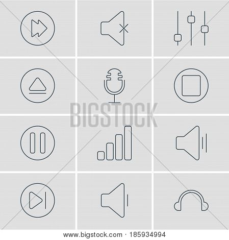 Vector Illustration Of 12 Music Icons. Editable Pack Of Decrease Sound, Rewind, Stabilizer And Other Elements.