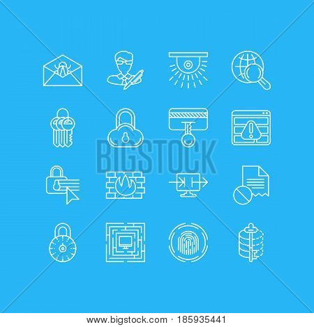 Vector Illustration Of 16 Internet Security Icons. Editable Pack Of Key Collection, Finger Identifier, Send Information And Other Elements.