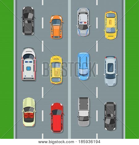 Cars on the road view from above vector illustration. Concept of highway traffic of cars along the road with markings.