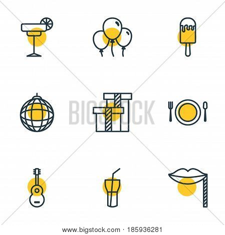 Vector Illustration Of 9 Banquet Icons. Editable Pack Of Cutlery, Decoration, Sundae And Other Elements.
