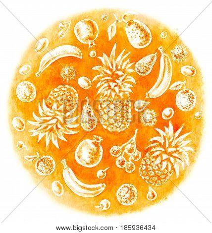 Hand drawn food illustration. Tropical fruit set on watercolor orange spot. Organic product theme.