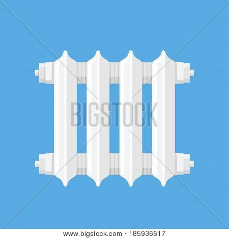 Domestic heater vector illustration in a flat style. Icon ceramic white heater on blue background.
