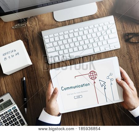 Illustration of global communications network connection on digital tablet