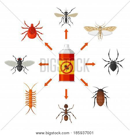 Pest control with insecticide vector illustration. Identification and destruction of cockroaches, termites, mites, fleas, spiders, etc. Pest control service concept.