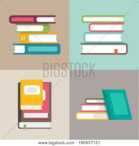 Stack or pile of books vector icons in a flat style. Education and training, literature and library concepts. Stacks of colored books in different positions on a colored background.