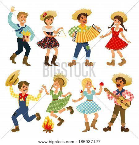 Festa Junina Brazil June Festival. Folklore Holiday. Characters. Vector Illustration.