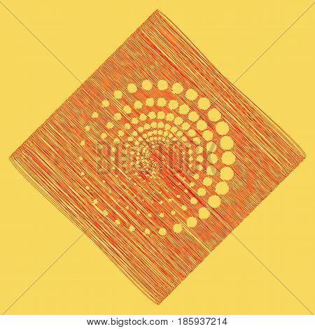 Abstract technology circles sign. Vector. Red scribble icon obtained as a result of subtraction rhomb and path. Royal yellow background.