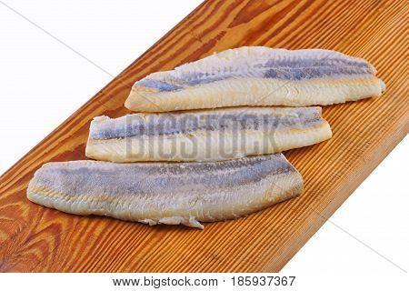 Flaps of herring , raw on board