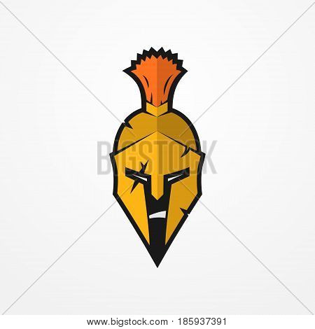 Furious face of a roman warrior in battle helmet. Head of a spartan soldier in flat style. Sport logotype or design element. Warrior vector stock image.